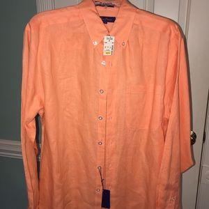 NWT orange linen shirt